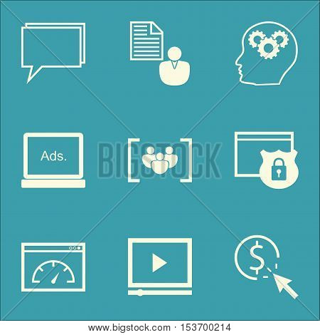 Set Of Marketing Icons On Video Player, Brain Process And Digital Media Topics. Editable Vector Illu