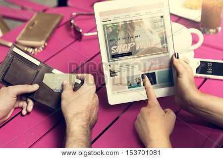 Shopping Online Browsing Tablet Concept