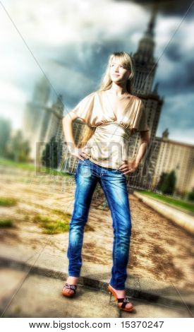 Girl in a city. HDR image with lots of special effects.