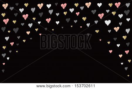 Black arc design with hearts confetti on black background. Romantic trendy heart frame. Valentine day design for love card, valentine day greetings. Vector illustration stock vector.