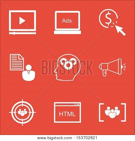 Set Of Marketing Icons On Coding, Ppc And Media Campaign Topics. Editable Vector Illustration. Inclu