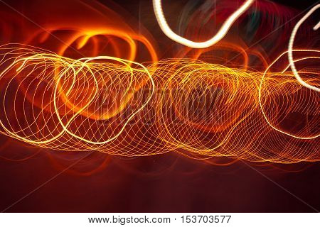 Neon Abstract moving lights, Caused by many bulb. This is Slow Shutter Speed Effect.
