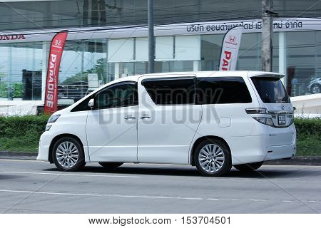 CHIANGMAI THAILAND - OCTOBER 8 2016: Private Toyota Vellfire car. Family van for large families. Photo at road no.121 Chiangmai thailand.
