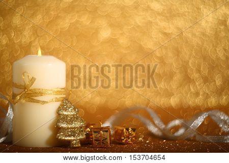 Christmas Candle On Shiny Background