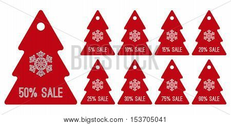 winter sale shopping tag symbols red christmas trees vector