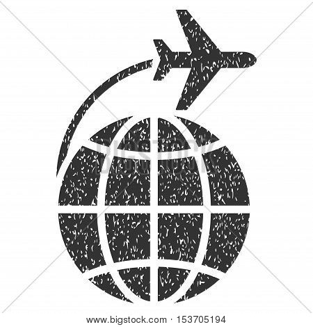 International Flight rubber seal stamp watermark. Icon symbol inside rounded rectangular frame with grunge design and dirty texture. Unclean vector gray ink emblem on a white background.