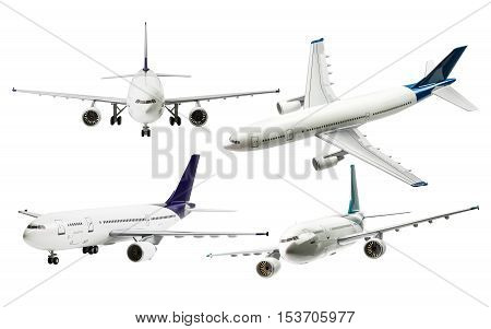 Collection of commercial plane isolated on white background with clipping path