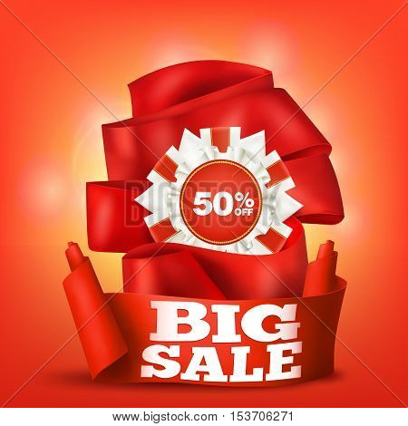 Big sale template card with red ribbons. Vector illustration