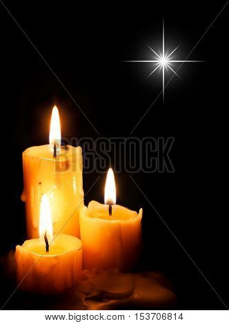 Christmas Candles With Star Light