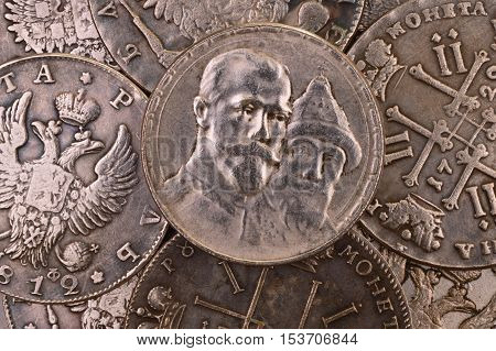 Coins background silver ruble Russia 1913 Three hundred years anniversary of the Romanov dynasty