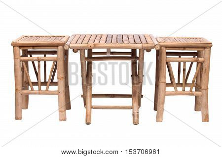 Natural bamboo folding table with chair  isolated on white background