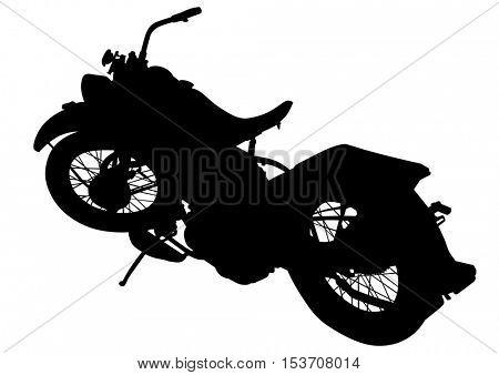 Old big bike on white background