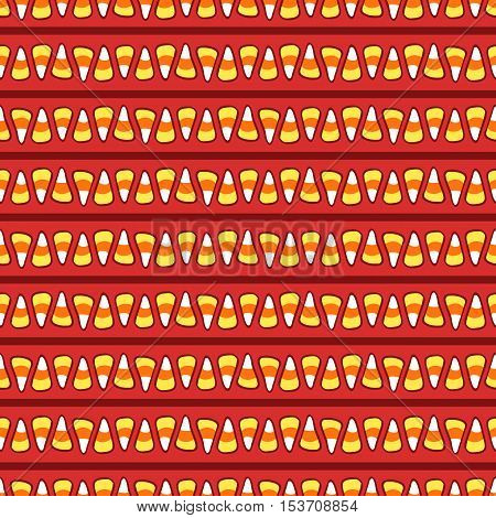 Candy corn on brown with abstract stripes. Halloween vector seamless pattern. Hand drawn sketchy tileable background, design element for halloween party invitation card or web banner