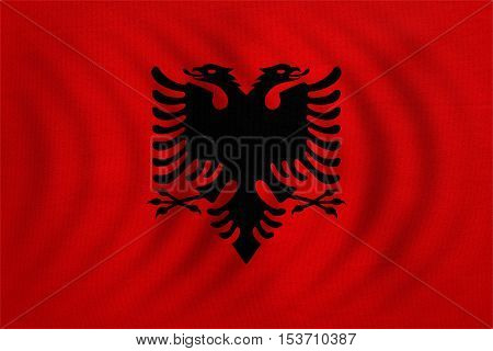 Albanian national official flag. Patriotic symbol banner element background. Correct colors. Flag of Albania wavy with real detailed fabric texture accurate size illustration