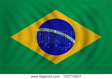 Brazilian national official flag. Patriotic symbol banner element background. Correct colors. Flag of Brazil wavy with real detailed fabric texture accurate size illustration