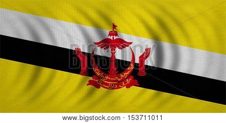 Bruneian national official flag. Patriotic symbol banner element background. Correct colors. Flag of Brunei wavy with real detailed fabric texture accurate size illustration