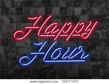 Hppy Hours in Glooming Red and Blue Neon Font in front of dark Wall - attract your Customers