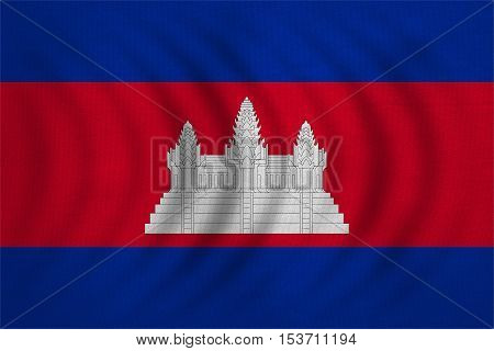 Cambodian national official flag. Patriotic symbol banner element background. Correct colors. Flag of Cambodia wavy with real detailed fabric texture accurate size illustration