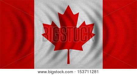 Canadian national official flag. Patriotic symbol banner element background. Correct colors. Flag of Canada wavy with real detailed fabric texture accurate size illustration