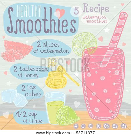 Healthy smoothie recipe set. With illustration of ingredients, glass, stars, hearts and vitamin. Hand drawn in cute doodle style. Watermelon smoothie. Watermelon, ice cubes, lime, bee, honey.