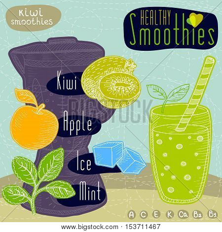 Healthy smoothie recipe set. With illustration of isolated ingredients, glass, smoothie maker, hearts and vitamin. Hand drawn fruits in retro doodle style background.