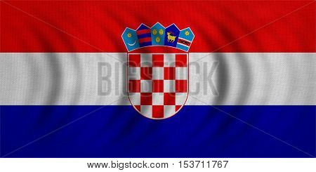 Croatian national official flag. Patriotic symbol banner element background. Correct colors. Flag of Croatia wavy with real detailed fabric texture accurate size illustration