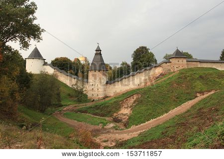 Pskov RussiaSeptember 21 2013 Towers and walls of the old fortress
