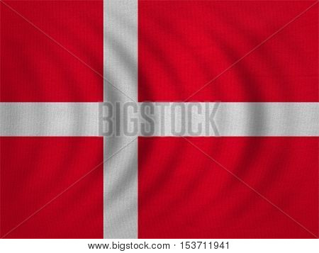 Danish national official flag. Patriotic symbol banner element background. Correct colors. Flag of Denmark wavy with real detailed fabric texture accurate size illustration