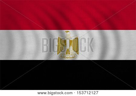 Egyptian national official flag. Arab Republic of Egypt patriotic symbol banner element background. Correct colors. Flag of Egypt wavy with real detailed fabric texture accurate size illustration