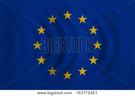 European Union official flag. Patriotic EU symbol. banner element design background. Correct colors. Flag of Europe wavy with real detailed fabric texture accurate size illustration