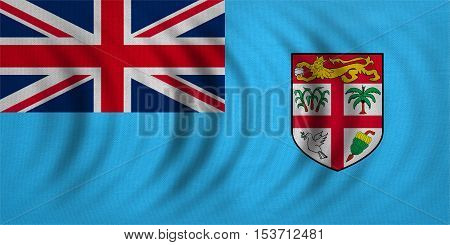 Fijian national official flag. Patriotic symbol banner element background. Correct colors. Flag of Fiji wavy with real detailed fabric texture accurate size illustration