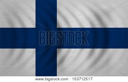 Finnish national official flag. Patriotic symbol banner element background. Correct colors. Flag of Finland wavy with real detailed fabric texture accurate size illustration