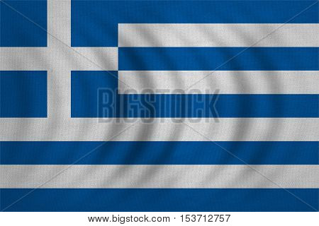 Greek national official flag. Patriotic symbol banner element background. Correct colors. Flag of Greece wavy with real detailed fabric texture accurate size illustration