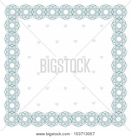 Lace square frame, blue pattern on a white background. Vector illustration. It can be used as a background on the websites and in typographical production