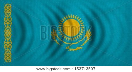 Kazakhstani national official flag. Patriotic symbol banner element background. Correct colors. Flag of Kazakhstan wavy with real detailed fabric texture accurate size illustration