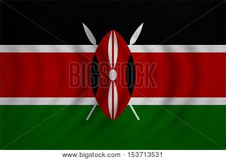 Kenyan national official flag. African patriotic symbol banner element background. Correct colors. Flag of Kenya wavy with real detailed fabric texture accurate size illustration