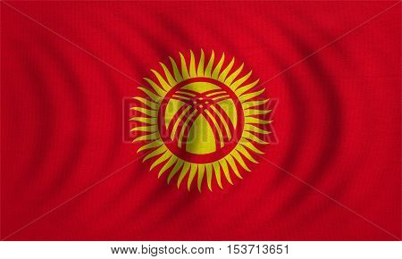 Kyrgyzstani national official flag. Patriotic symbol banner element background. Correct colors. Flag of Kyrgyzstan wavy with real detailed fabric texture accurate size illustration
