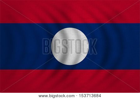 Laotian national official flag. Patriotic symbol banner element background. Correct colors. Flag of Laos wavy with real detailed fabric texture accurate size illustration