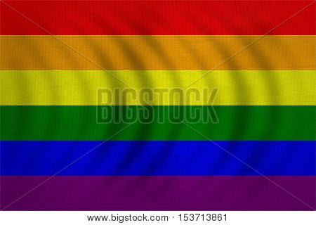 Rainbow gay pride flag. Symbol of LGBT movement. Gay banner element background. Correct colors. Rainbow wavy flag with real detailed fabric texture accurate size illustration