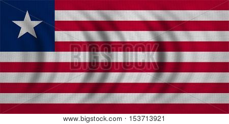 Liberian national official flag. African patriotic symbol banner element background. Correct colors. Flag of Liberia wavy with real detailed fabric texture accurate size illustration