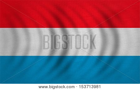 Luxembourgish national official flag. Patriotic symbol banner element background. Correct colors. Flag of Luxembourg wavy with real detailed fabric texture accurate size illustration