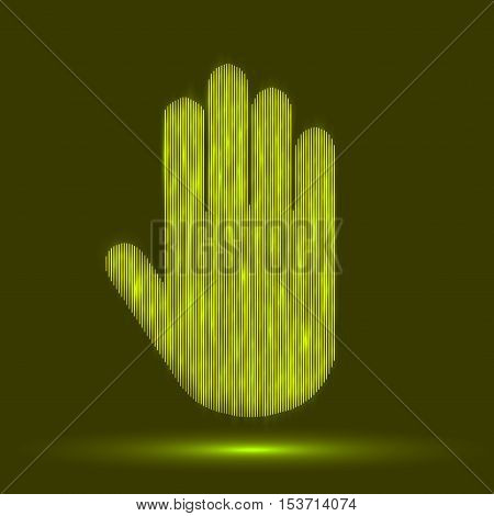 Hand gesture line icon set in modern geometric style with construction lines. Vector illustration of human hands.
