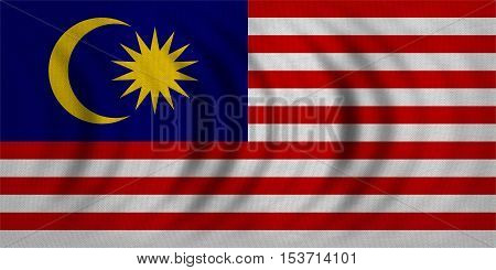 Malaysian national official flag. Patriotic symbol banner element background. Correct colors. Flag of Malaysia wavy with real detailed fabric texture accurate size illustration