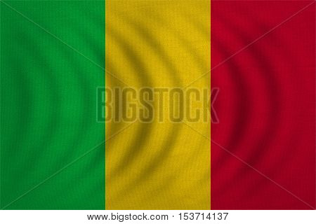 Malian national official flag. African patriotic symbol banner element background. Correct colors. Flag of Mali wavy with real detailed fabric texture accurate size illustration