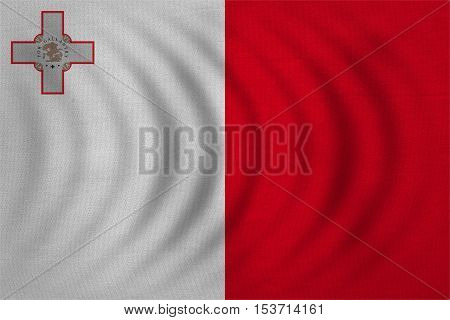 Maltese national official flag. Patriotic symbol banner element background. Correct colors. Flag of Malta wavy with real detailed fabric texture accurate size illustration