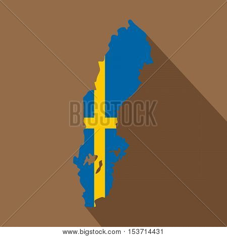 Map of Sweden icon. Flat illustration of map of Sweden vector icon for web