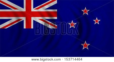 New Zealand national official flag. Patriotic symbol banner element background. Correct colors. Flag of New Zealand wavy with real detailed fabric texture accurate size illustration