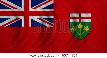 Ontarian provincial flag patriotic element and official symbol. Canada banner and background. Correct colors. Flag of the Canadian province of Ontario wavy fabric texture accurate size illustration