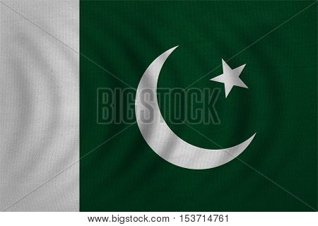 Pakistani national official flag. Patriotic symbol banner element background. Correct colors. Flag of Pakistan wavy with real detailed fabric texture accurate size illustration