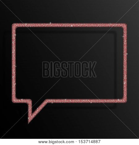 Frame made of red sequins in the form speech bubble. Mosaic sequins glitter sparkle stars.